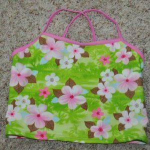 Girls Malibu Green Floral Tankini Swimsuit Top- 14